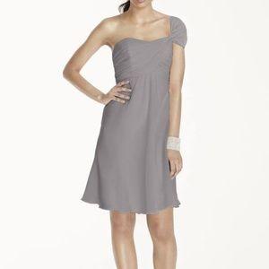 Purple tea length chiffon purple dress